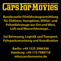 Cars for Movies: Vehicles (general), Money Transporter, Ambulances, Military Vehicles, Oldtimers, Police Vehicles, Props (Historical Advice)
